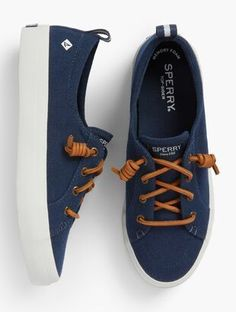 Shop Talbots for modern classic women's styles. You'll be a standout in our Sperry® Crest Vibe Sneakers - Solid - only at Talbots! Sperry Shoes For Women, Sperrys Women, Women Sandals, Sperry Sneakers, Best Sneakers, Teen Girl Shoes, Classic Style Women, Modern Classic, Comfortable Sneakers