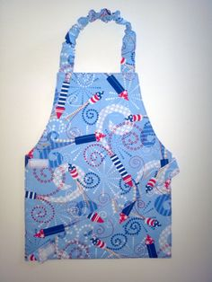 Fireworks apron Red white and blue child's apron by EverSewSweet on etsy.