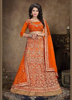 Net Fabric & Orange A Line Lehenga Style This attire is nicely made with Resham & Butta Work work. Buy Online Designer Lehenga, Party Wear Lehenga Choli, Wedding Wear Lehenga, dress material, Ceremonial Wear, Lehenga, Indian Ghagra choli For women. We have large range of Lehenga designs, choli, Lehenga Online, chaniya Choli and party wear Choli in our website with the best pricing and unique designs shipping to World Wide.