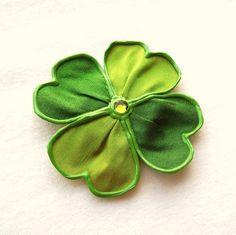 Lil' Bit More Luck  large fabric shamrock brooch by begurple, $16.00