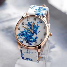 Fashion quartz wristwatch casual watches 5colors leather bracelet flower design