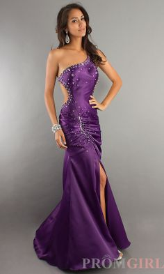 One Shoulder Backless Evening Gown (front)