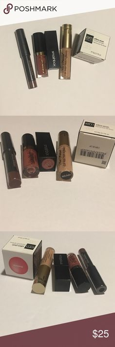 Makeup bundle 4 minis and full size balm. Lip balm is em cosmetics pillow plush balm in strawberry, too faced lip injection in the color milkshake, smashbox be legendary mini lipstick in the color famous, tarteist lip paint in the color delish and nudestix mini magnetic matte lip color in Greystone. All brand new! Never used/opened. Sephora Makeup Lipstick