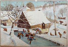 Opetustaulu 1900-luvun alusta. Antique Christmas, Christmas Paper, Xmas, Old Postcards, Scandinavian Style, Illustrators, Germany, Antiques, Painting