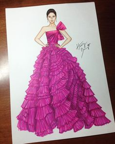Think pink moment at Cannes Dress Design Sketches, Fashion Design Sketchbook, Fashion Design Drawings, Fashion Sketches, Fashion Drawing Dresses, Fashion Illustration Dresses, Fashion Dresses, Arte Fashion, Couture Fashion