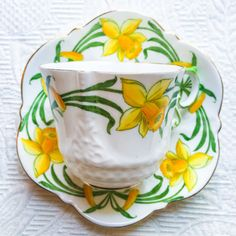 Dreamy Daffodil Art Nouveau Aynsley 1930's Embossed Teacup and Saucer Set