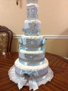 5 Tier Diaper Cake/Blue and Silver Customizable Diaper Cake/Boy Baby Shower/Customizable 5 Tier Diaper Cake/ Diaper Cake Boy, Baby Boy Cakes, Nappy Cakes, Cakes For Boys, Baby Shower Cakes, Baby Boy Shower, Baby Shower Gifts, Baby Shower Elegante, Elegant Baby Shower