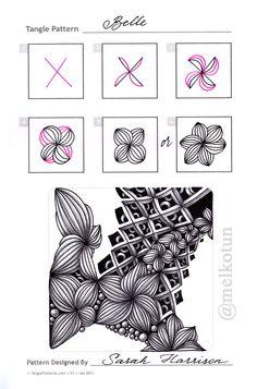 Zentangle. Обучение. Формат страницы А5. Гелевая ручка, карандаш. Шаблон с сайта TanglePatterns.com. Авторство tangle указано на картинке.