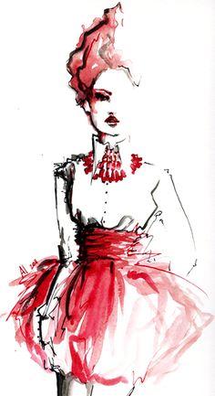 Fashion illustration #red #fashion #illustration #jewelry #drawing #sketch #art