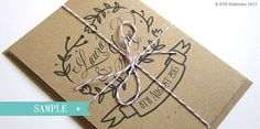 This invitation features whimsical hand-drawn illustrations & a lovely calligraphy style font. Printed on 100% recycled kraft card with matching