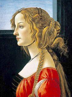 """Portrait of a Young Woman"" (Simonetta Vespucci) -- Circa 1476-80 -- Sandro Botticelli -- Italian -- Tempera on panel -- State Museums of Germany, Berlin."