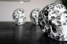"K.olin tribu x NooN ""Black Flower"" Porcelain Skull Sculpture"