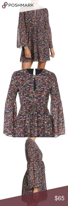 Bardot floral dress Fall florals! Super cute print dress with partially elasticized bell sleeves, keyhole front, drawstring waist. Structured without stretch, fully lined. Not recommended for gals with a bigger chest, it will be too tight. AU size 6, fits like a 0-2. No trades. Bardot Dresses Mini