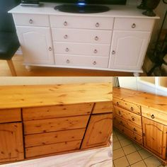 Before and after drawers . Now looking beautiful in white.