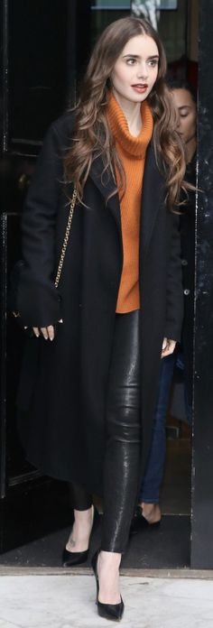 Who made lily collins black pants coat pumps and orange turtleneck sweater diiiyyaazzz for Lily Collins Style, Lily Collins Fashion, Fall Winter Outfits, Winter Fashion, Black Pants, Orange Pants, Fashion Dictionary, Pippa Middleton, Orange Turtleneck Sweater