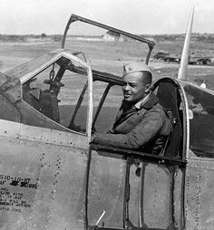 """Maj. George S. """"Spanky"""" Roberts and his P-51 Mustang. Roberts was the first African American accepted for U.S. Army pilot training."""