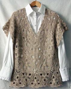 """Купить Безрукавка """"Арабеска"""" - бежевый, рисунок, ручное вязание, Вязание крючком, жилет, безрукавка вязаная"""