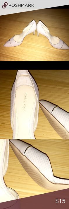 Low mid level pump, Like New Condition Calvin Klein pumps, Size: 7, only worn 1-2x ( Sister purchased this and wore them 1 or 2x and gave them to me because they were a 1/2 size to small, and I never wore these because they were a 1/2 size to big) haha look brand new! Calvin Klein Shoes Heels