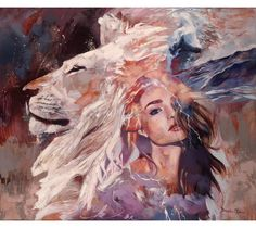 Quiet of the Whirlwind features a portrait of a young woman and a regal lion surrounded by an atmospheric storm.by Dimitra Milan