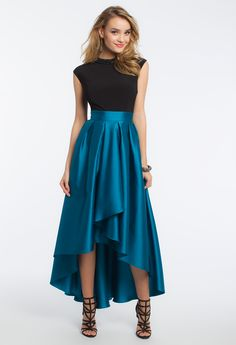 Arefeva Dark Green Tie-Waist Hi-Low Skirt | Look at, Holiday ...