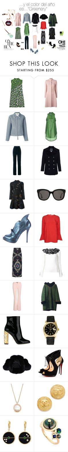 """...Y el color del año es....""Greenery"""" by angiecip on Polyvore featuring moda, Miu Miu, Alexander McQueen, Marni, Manila Grace, Gucci, Saint James, Valentino, Gentle Monster y Jerome C. Rousseau"