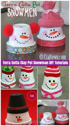 Christmas Crafts: Terra Cotta Clay Pot Snowman DIY Tutorials