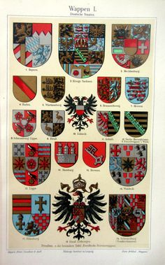 1906 Vintage german coats of arms engraving by LyraNebulaPrints, $19.95