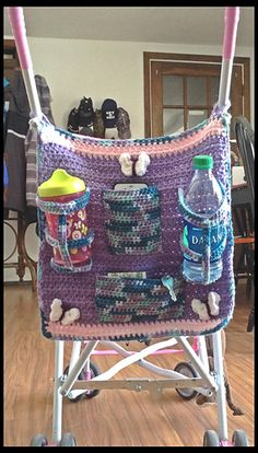 Umbrella Stroller Organizer pattern by Sonya Blackstone/Blackstone Designs - Pockets for cell phones, drinks, and other odds & ends. #stroller #organizer #crochet #blackstonedesigns #mmmakers