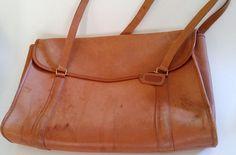 Vintage COACH Large Envelope Portfolio Tan Leather Briefcase Bag Made in USA #Coach #Vintage
