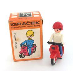 OLD STOCK CZECH IGRACHEK MOTOR-CYCLIST TOY Retro Toys, Toy Boxes, Kids Toys, Childhood, European Countries, Memories, Deco, Czech Republic, Children