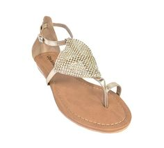 City Classified Womens Alease Diamond Front Patch Thong Flat Sandals metallic light gold 75 M US -- This is an Amazon Affiliate link. Visit the image link more details.