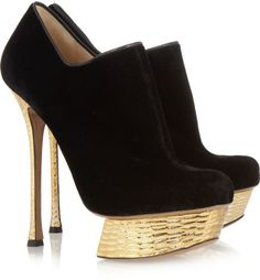 Velvet and Hammered Metallic Leather Ankle Boots - Lyst
