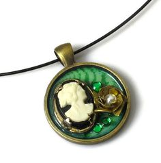 Emerald Green Necklace, Cameo Pendant, Upcycled Jewelry, Fern. $24.00, via Etsy.