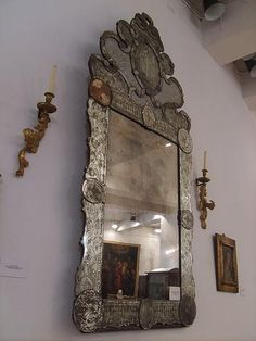 century Venetian mirror in Museo del Carmen de Maipú, Santiago, Chile Mirrors And Chandeliers, Old Mirrors, Vintage Mirrors, Venetian Mirrors, Venetian Glass, Decoration Baroque, Gothic Revival Architecture, Paint Stripper, Beautiful Mirrors