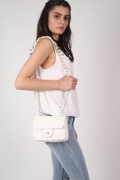 Quilted Cross Body Bag in White