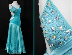 Blue Smooth with Mesh Ribbons on Front and Drape on Back