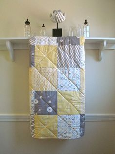 Baby Quilt Organic SandPiper Soft Yellow Grey by FernLeslieBaby, $115.00
