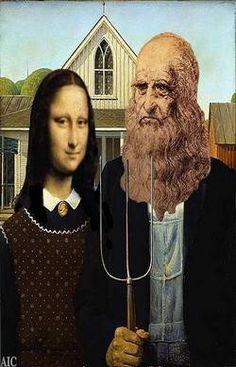 Mona Lisa and Leonardo da Vinci - American Gothic (after Grant Wood)