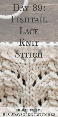 Day 89 : Learn how to knit the fishtail lace knit stitch. Written instructions and step-by-step video tutorial. Lace Knitting Stitches, Lace Knitting Patterns, Loom Knitting, Knitting Socks, Stitch Patterns, Knitting Videos, Knitting For Beginners, Crochet Double, How To Purl Knit