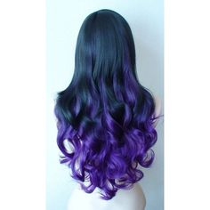 Black Purple Ombre wig. Long curly layered hair with bangs wig. ❤ liked on Polyvore featuring hair and hairstyle