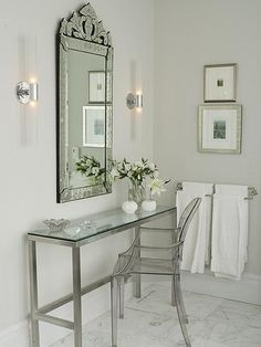 Sarah Richardson Design - glass dressing table