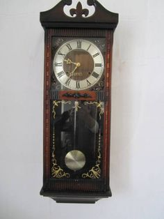 Wall Clock TA630アンティーク 木枠柱時計 振り子ゼンマイ式 30日巻 Watch Antique ¥4800yen 〆05月21日