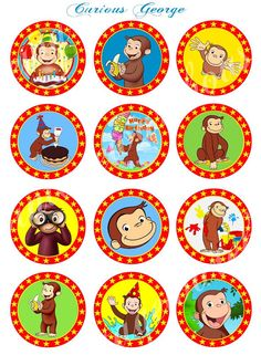 CURIOUS GEORGE Craft Circles - Instant Download Printable Cupcake Toppers, Round Stickers, Party Supplies - 3 sizes