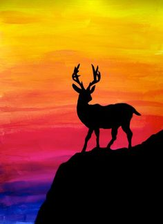 Student of grade 9 (class learned to use acrylic colours, mixing them to get colour gradations. Then they painted a black silhouette on the colorful background. The effect is very bright! drawing paintings Silhouette on colorful gradation Oil Pastel Drawings, Oil Pastel Art, Art Drawings, Oil Pastels, Pencil Drawings, Silhouette Painting, Black Silhouette, Sunset Silhouette, Silhouette Drawings