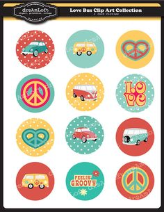 Love Bus 2 inch Round Printable Circles for stickers, cupcake toppers, cards, stationary, invitations, scrapbooking and all paper crafts on Etsy, $3.99