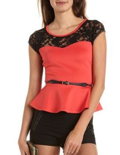 belted lace inset peplum top-love the back detail! Get a discount: http://www.studentrate.com/itp/get-itp-student-deals/Charlotte-Russe-10percent-Student-Discount--/0