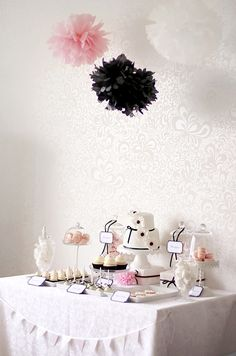 pink, black and white dessert table