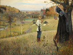 Russian Artist - Mikhail Nesterov 1889 oil on canvas 'Vision of Youth Bartholomew This legendary work inaugurated the Symbolist movement in Russian painting. Russian Painting, Russian Art, Religious Paintings, Most Famous Paintings, Ukrainian Art, Russian Orthodox, Kirchen, Art History, Painting Art