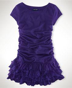 Party time! Ralph Lauren Girls Dress, Little Girls Ruched-Sleeve Dresses - Kids Girls 2-6X - Macy's $39.50 #MacysBTS