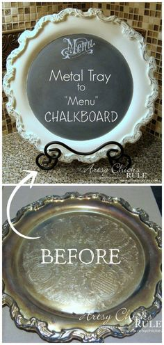 DIY chalk paint metal tray. Transform an old tray or serving dish into a chalkboard surrounded by distressed chalk paint. Annie Sloan, rustoleum, furniture, home decor, farmhouse, neutral, rustic, kitchen (Afflink)